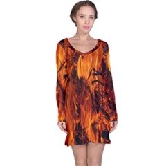 Fire Easter Easter Fire Flame Long Sleeve Nightdress