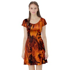 Fire Easter Easter Fire Flame Short Sleeve Skater Dress