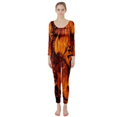 Fire Easter Easter Fire Flame Long Sleeve Catsuit