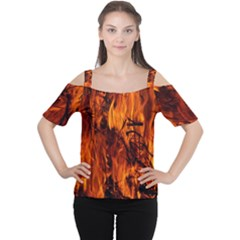 Fire Easter Easter Fire Flame Women s Cutout Shoulder Tee