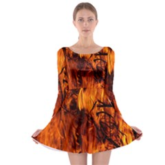 Fire Easter Easter Fire Flame Long Sleeve Skater Dress