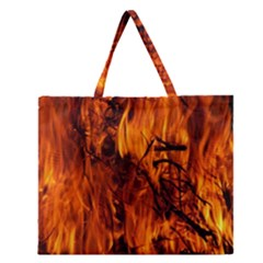 Fire Easter Easter Fire Flame Zipper Large Tote Bag