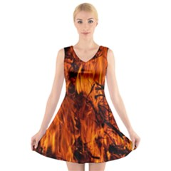 Fire Easter Easter Fire Flame V Neck Sleeveless Skater Dress