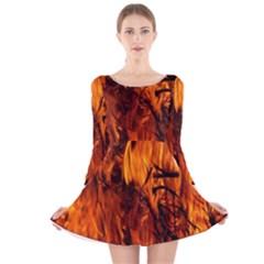 Fire Easter Easter Fire Flame Long Sleeve Velvet Skater Dress