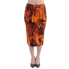 Fire Easter Easter Fire Flame Midi Pencil Skirt