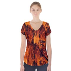 Fire Easter Easter Fire Flame Short Sleeve Front Detail Top
