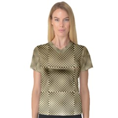 Fashion Style Glass Pattern Women s V Neck Sport Mesh Tee