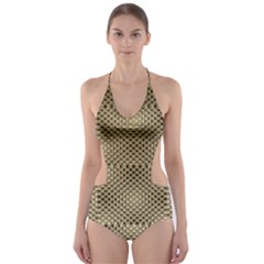 Fashion Style Glass Pattern Cut-Out One Piece Swimsuit