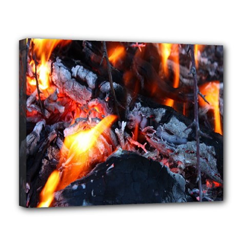 Fire Embers Flame Heat Flames Hot Canvas 14  x 11