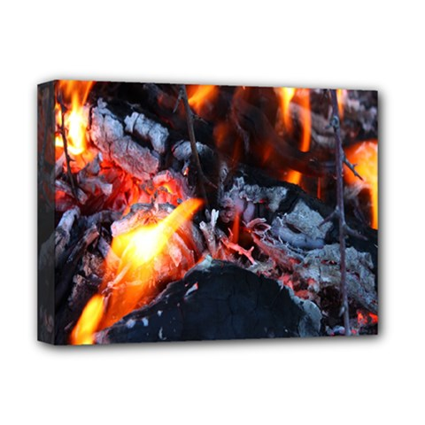 Fire Embers Flame Heat Flames Hot Deluxe Canvas 16  x 12