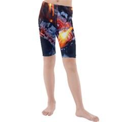 Fire Embers Flame Heat Flames Hot Kids  Mid Length Swim Shorts