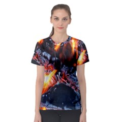 Fire Embers Flame Heat Flames Hot Women s Sport Mesh Tee