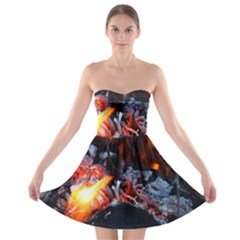 Fire Embers Flame Heat Flames Hot Strapless Bra Top Dress