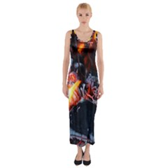Fire Embers Flame Heat Flames Hot Fitted Maxi Dress