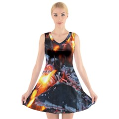 Fire Embers Flame Heat Flames Hot V Neck Sleeveless Skater Dress