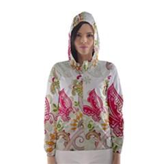 Floral Pattern Background Hooded Wind Breaker (Women)