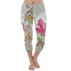 Floral Pattern Background Capri Winter Leggings