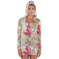 Floral Pattern Background Women s Long Sleeve Hooded T-shirt