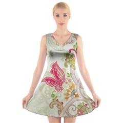 Floral Pattern Background V Neck Sleeveless Skater Dress