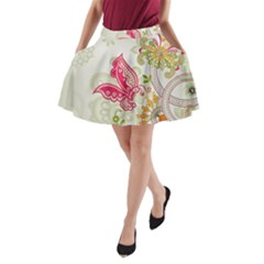 Floral Pattern Background A-Line Pocket Skirt