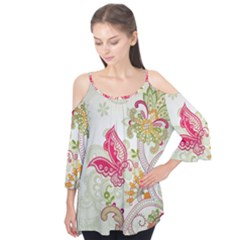 Floral Pattern Background Flutter Tees