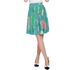 Floral Elegant Background A Line Skirt