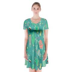 Floral Elegant Background Short Sleeve V-neck Flare Dress