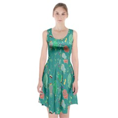 Floral Elegant Background Racerback Midi Dress