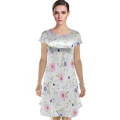 Floral Pattern Background  Cap Sleeve Nightdress