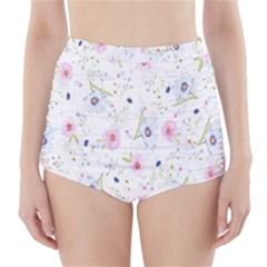 Floral Pattern Background  High Waisted Bikini Bottoms