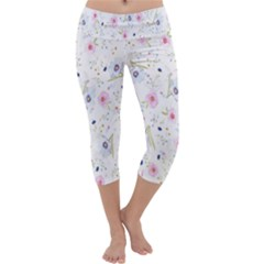 Floral Pattern Background  Capri Yoga Leggings