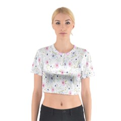 Floral Pattern Background  Cotton Crop Top