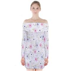 Floral Pattern Background  Long Sleeve Off Shoulder Dress