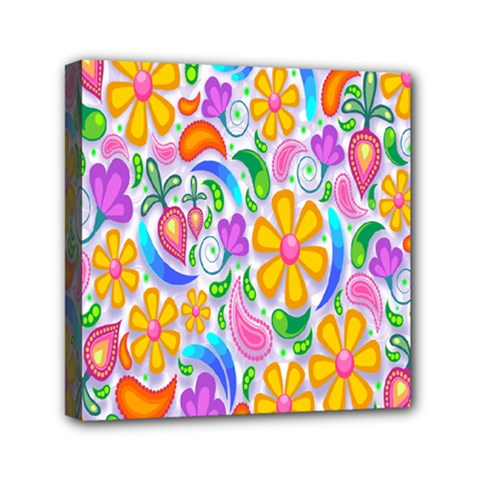 Floral Paisley Background Flower Mini Canvas 6  x 6