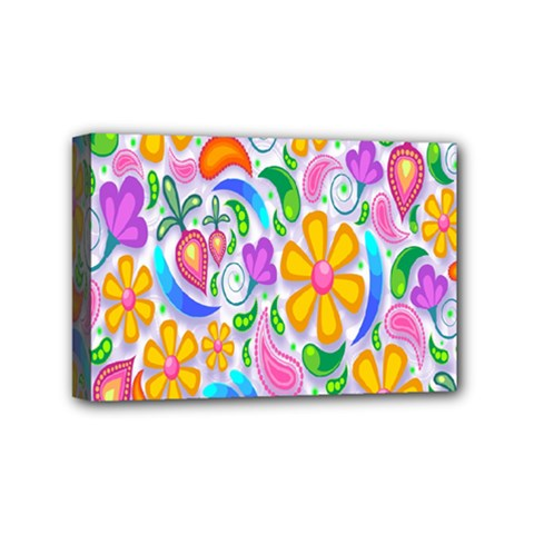 Floral Paisley Background Flower Mini Canvas 6  x 4