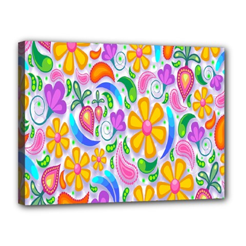 Floral Paisley Background Flower Canvas 16  x 12