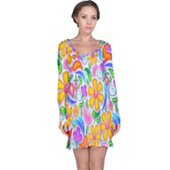 Floral Paisley Background Flower Long Sleeve Nightdress