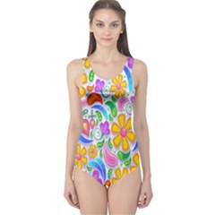 Floral Paisley Background Flower One Piece Swimsuit