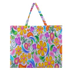 Floral Paisley Background Flower Zipper Large Tote Bag