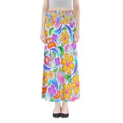 Floral Paisley Background Flower Maxi Skirts