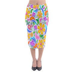 Floral Paisley Background Flower Midi Pencil Skirt