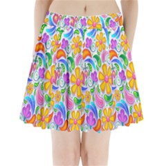 Floral Paisley Background Flower Pleated Mini Skirt