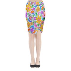 Floral Paisley Background Flower Midi Wrap Pencil Skirt