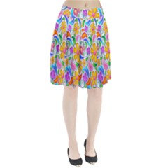 Floral Paisley Background Flower Pleated Skirt