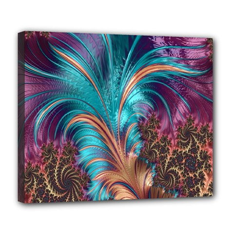 Feather Fractal Artistic Design Deluxe Canvas 24  x 20