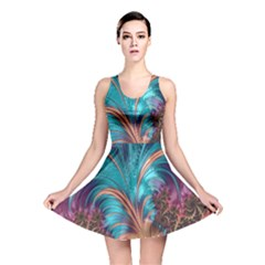 Feather Fractal Artistic Design Reversible Skater Dress