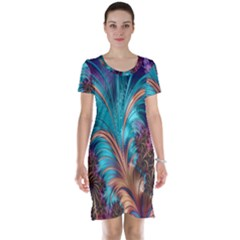 Feather Fractal Artistic Design Short Sleeve Nightdress