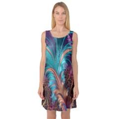 Feather Fractal Artistic Design Sleeveless Satin Nightdress