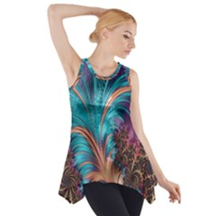 Feather Fractal Artistic Design Side Drop Tank Tunic