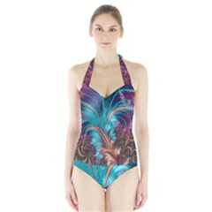 Feather Fractal Artistic Design Halter Swimsuit